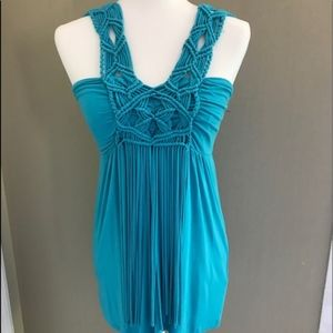 Boston Proper Turquoise Macrame and Fringe Top xs